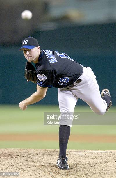 Brian Anderson of the Kansas City Royals pitched a completegame shutout against his former team the Anaheim Angels The Royals defeated the Angels 50...