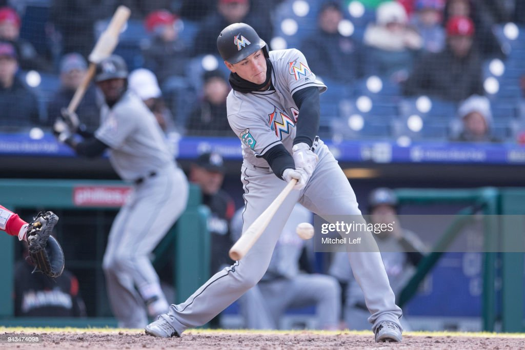 Brian Anderson #15 of the Miami Marlins hits a two RBI double in the top of the eighth inning against the Philadelphia Phillies at Citizens Bank Park on April 8, 2018 in Philadelphia, Pennsylvania. The Marlins defeated the Phillies 6-3.