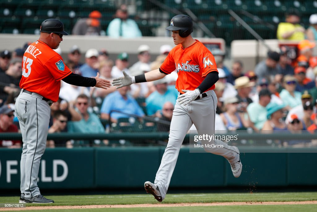 Brian Anderson #15 of the Miami Marlins runs the bases after hitting a two run homer during the first inning of the Spring Training game against the Detroit Tigers at Joker Marchant Stadium on March 02, 2018 in Lakeland, Florida.