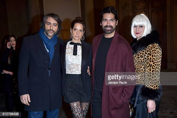 Brian Atwood and guests attend Vogue Cocktail Party honoring photographer Mario Testino on February 27 2016 in Milan Italy