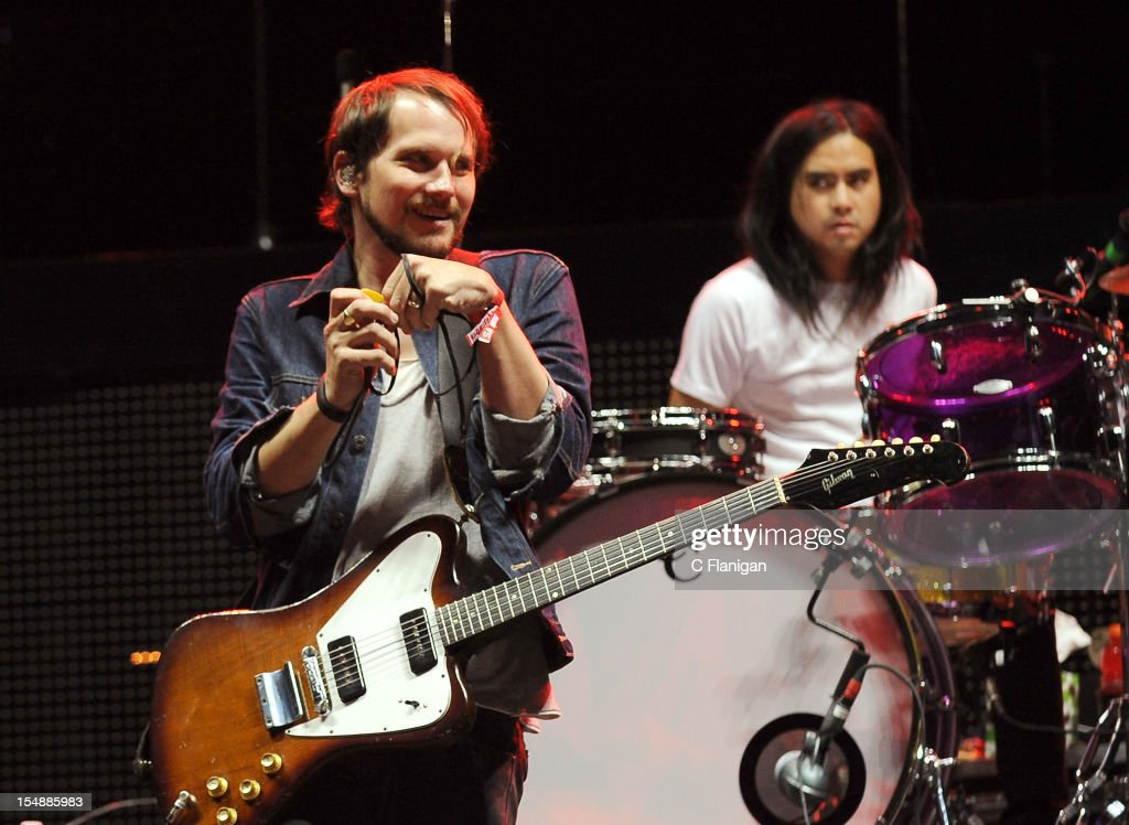 Brian Aubert and Christopher Guanlao of Silversun Pickups perform during the 2012 Voodoo Experience at City Park on October 27, 2012 in New Orleans, Louisiana.