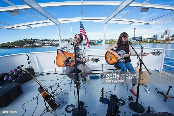 Brian Aubert and Nikki Monninger of Silversun Pickups perform an EndSession hosted by 1077 The End on an Argosy Cruise Ship on September 16 2015 in...