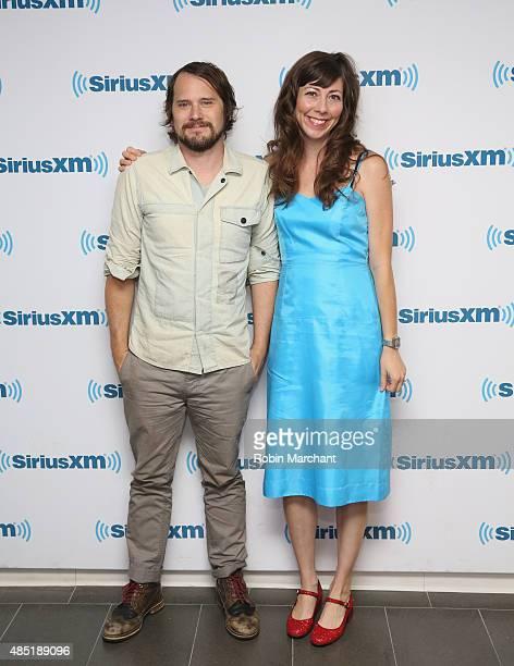 Brian Aubert and Nikki Monninger of Silversun Pickups visit at SiriusXM Studios on August 25 2015 in New York City