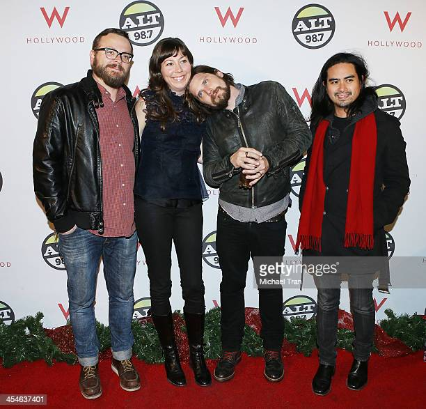 Brian Aubert Nikki Monninger Christopher Guanlao and Joe Lester of Silversun Pickups attend The ALTimate Rooftop Christmas party held at W Hollywood...