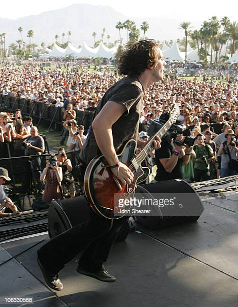 Brian Aubert of Silversun Pickups during 2007 Coachella Valley Music and Arts Festival Day 1 at Empire Polo Field in Indio California United States