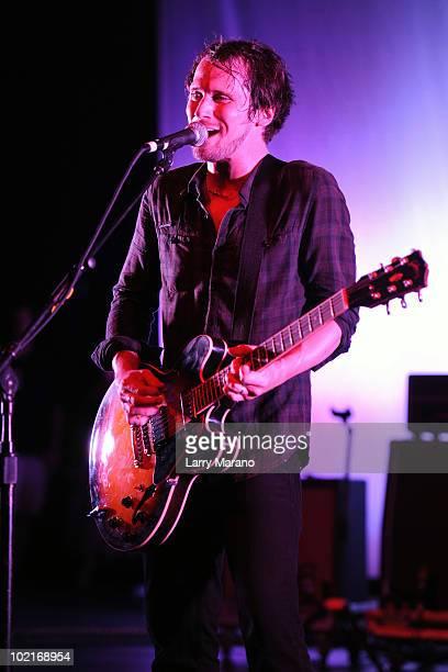 Brian Aubert of Silversun Pickups performs at Sunset Cove Amphitheatre on June 16 2010 in Boca Raton Florida