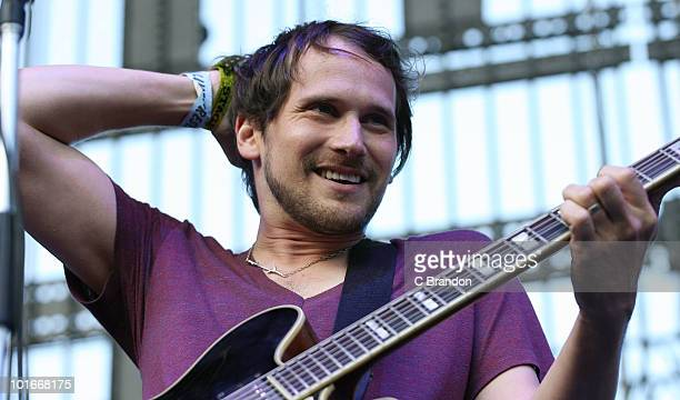Brian Aubert of the Silversun Pickups performs at the Verizon Wireless Amphitheatre on June 5 2010 in Laguna Hills California