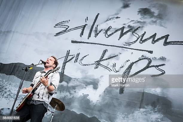 Brian Aubert performs with Silversun Pickups on Day 1 of the Osheaga Music and Art Festival at Parc JeanDrapeau on July 29 2016 in Montreal Canada