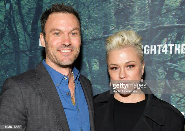 Brian Austin Green and Christine Elise attend the PUBG Mobile's #FIGHT4THEAMAZON Event at Avalon Hollywood on December 09, 2019 in Los Angeles,...
