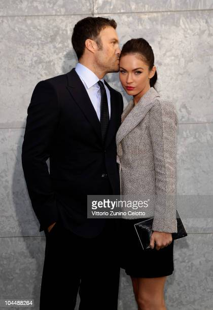 Brian Austin Green and Megan Fox attend the Giorgio Armani Spring/Summer 2011 fashion show during Milan Fashion Week Womenswear on September 27, 2010...