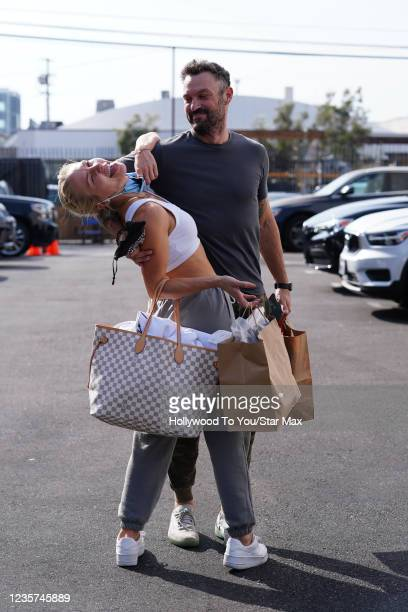Brian Austin Green and Sharna Burgess are seen on October 6, 2021 in Los Angeles.