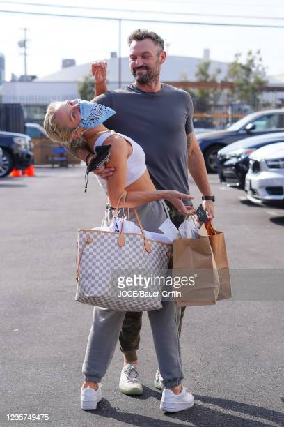 Brian Austin Green and Sharna Burgess are seen outside 'Dancing With The Stars' Rehearsal Studio on October 06, 2021 in Los Angeles, California.