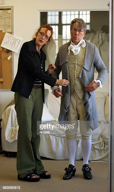 LOS ANGELES CA Brian Bedford being fitted for his costume with designer Catherine Zuber The costume is for the upcoming School for Scandal