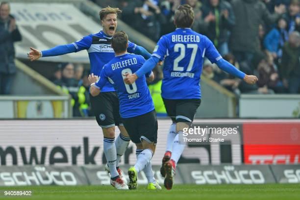 Brian Behrendt Tom Schuetz and Konstantin Kerschbaumer of Bielefeld celebrate during the Second Bundesliga match between DSC Arminia Bielefeld and...