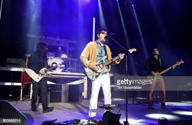 Brian Bell Patrick Wilson Rivers Cuomo and Scott Shriner of Weezer perform during the ID10T Festival at Shoreline Amphitheatre on June 24 2017 in...