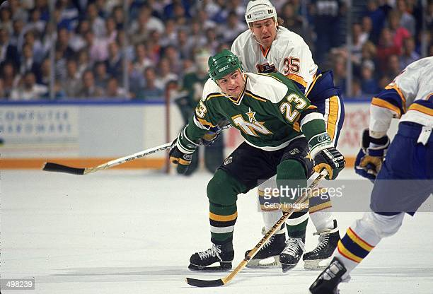 Brian Bellows of the Minnesota North Stars moves on the ice during a game.