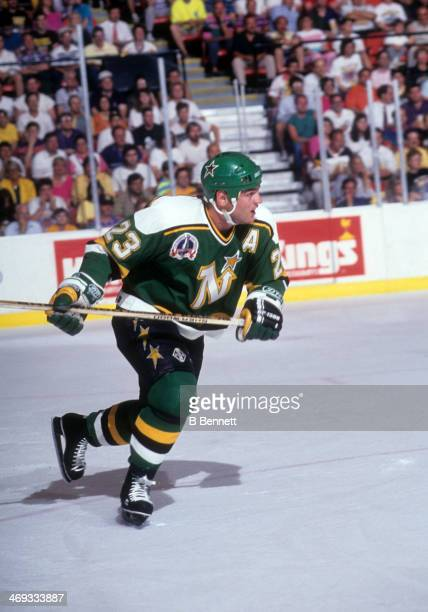 Brian Bellows of the Minnesota North Stars skates on the ice against the Pittsburgh Penguins during Game 2 of the 1991 Stanley Cup Finals on May 17,...