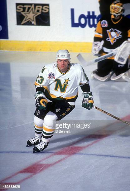 Brian Bellows of the Minnesota North Stars skates on the ice during warm-ups before Game 3 of the 1991 Stanley Cup Finals against the Pittsburgh...