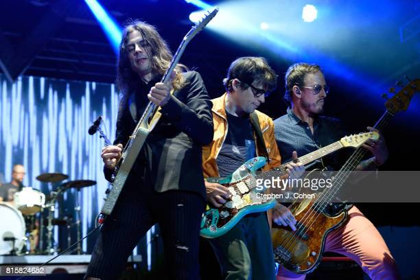 Brian Bell,Rivers Cuomo, and Scott Shriner of Weezer performs at the 2017 Forecastle Music Festival on July 16, 2017 in Louisville, Kentucky.