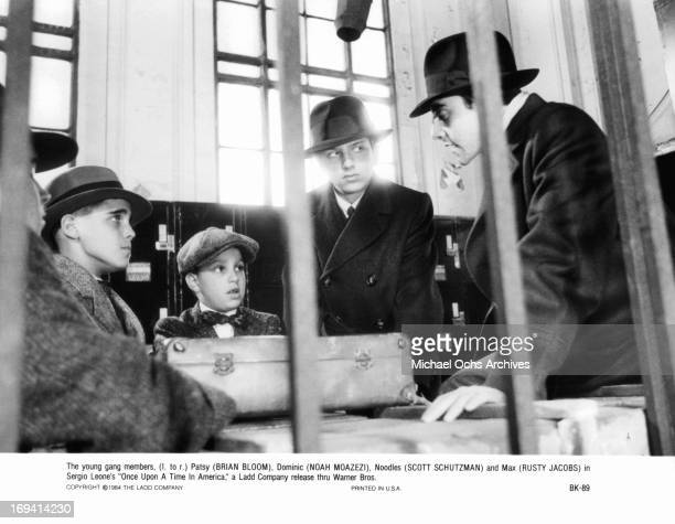 Brian Bloom Noah Moazezi Scott Schutzman Tiler and Rusty Jacobs gathered together in a scene from the film 'Once Upon A Time In America' 1984