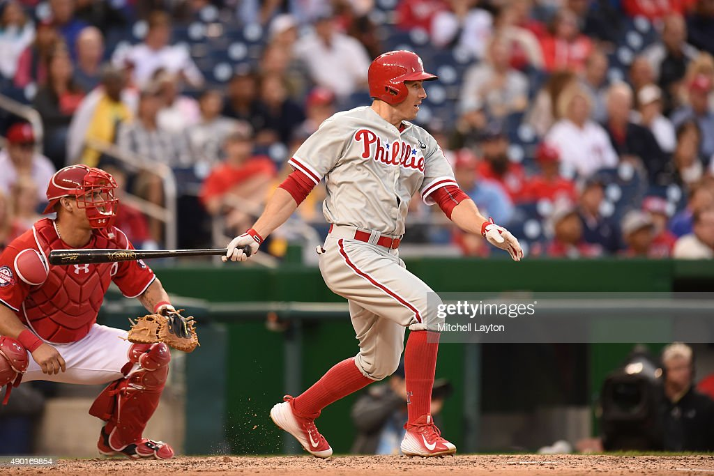 Brian Bogusevic #17 of the Philadelphia Phillies doubles in the 8th inning to score Darin Ruf #18 9not pictured) during a baseball game against the Washington Nationals at Nationals Park on September 26, 2015 in Washington, DC. The Nationals won 2-1 in the 12th inning