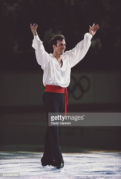 Brian Boitano of the United States celebrates winning gold in the Men's Figure Skating during the ice gala event on 21 February 1988 during the XV...