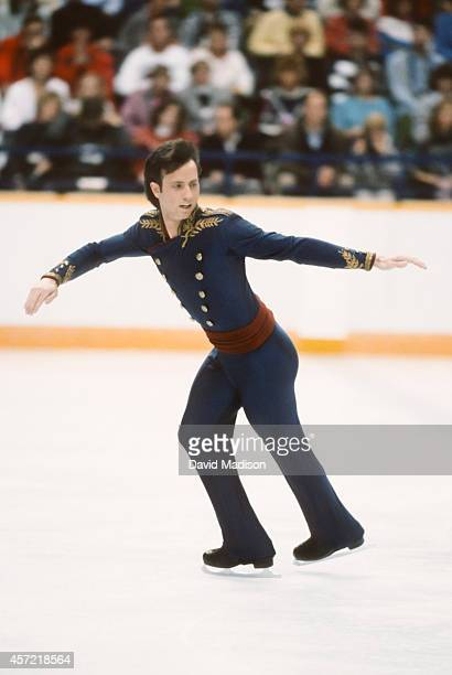 Brian Boitano of the USA competes in the final of the Men's Singles Figure Skating event of the 1988 Winter Olympic Games on February 20 1988 at the...