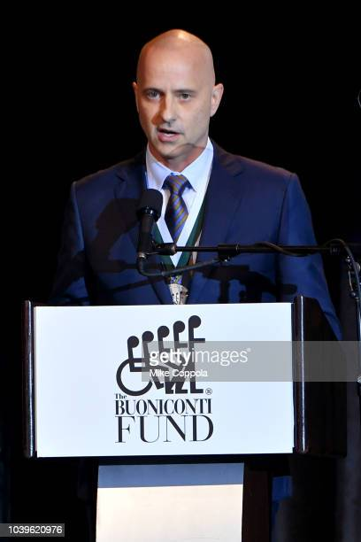 Brian Boitano speaks on stage during the 33rd Annual Great Sports Legends Dinner which raised millions of dollars for the Buoniconti Fund to Cure...