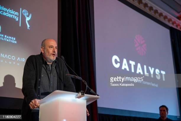 Brian Bold speaks at the Catalyst Content Awards Gala on October 13 2019 in Duluth Minnesota