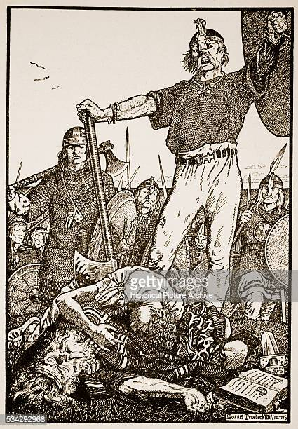 'Brian Boru was an Irish king killed at the Battle of Clontarf Illustration by Morris Meredith Williams from ''The Northmen in Britain'' by Eleanor...