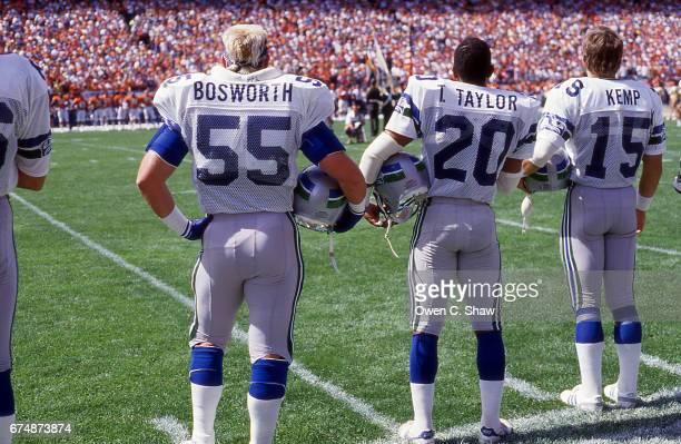 DENVER CO brian Bosworth and teamates of the Seattle Seahawks circa 1988 stand or the antham in a game against the Denver Broncos at Mile High...
