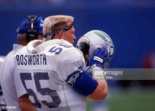 Brian Bosworth of the Seattle Seahawks circa 1987 plays against the Denver Broncos at Mile High Stadium in Denver Colorado