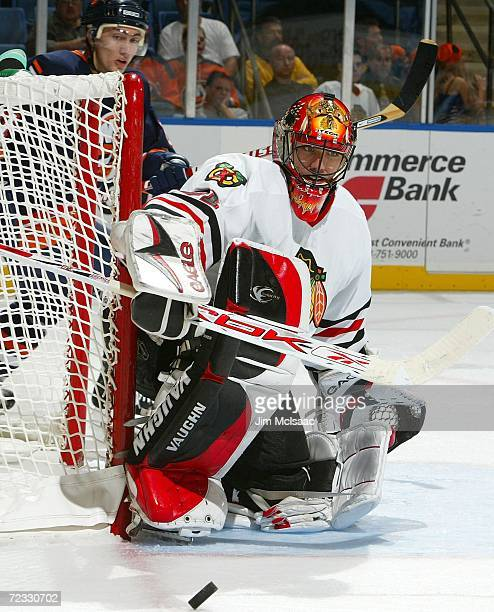 Brian Boucher of the Chicago Blackhawks makes a save against the New York Islanders on October 31, 2006 at Nassau Coliseum in Uniondale, New York.
