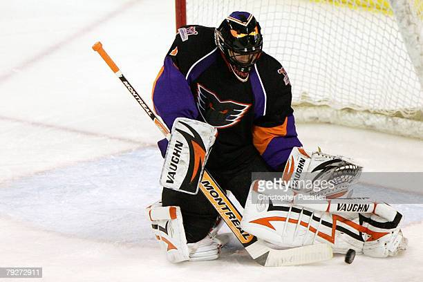 Brian Boucher of the Philadelphia Phantoms makes a pad save against the Bridgeport Sound Tigers during the first period on January 26 2008 at the...