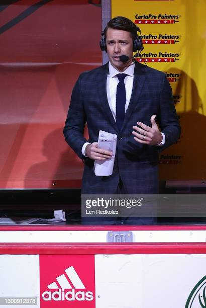 Brian Boucher the 'Inside-the-Glass' analyst for NBC Sports at and NHL game between the Philadelphia Flyers and the Boston Bruins at the Wells Fargo...