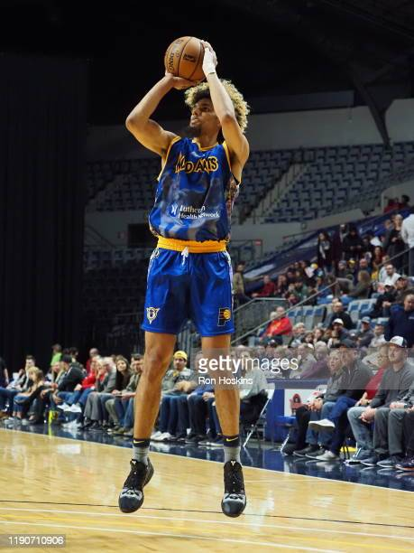 Brian Bowan II of the Fort Wayne Mad Ants shoots a jumper against the Grand Rapids Drive on December 28 2019 at Memorial Coliseum in Fort Wayne...