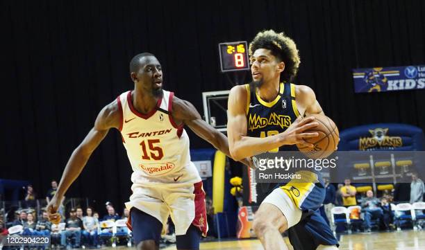 """Brian Bowen II of the Fort Wayne Mad Ants battles Sir""""Dominic Pointer of the Canton Charge on February 23, 2020 at Memorial Coliseum in Fort Wayne,..."""