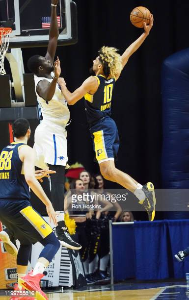 Brian Bowen of the Fort Wayne Mad Ants dunks the ball against the Delaware Blue Coats on February 09 2020 at Memorial Coliseum in Fort Wayne Indiana...