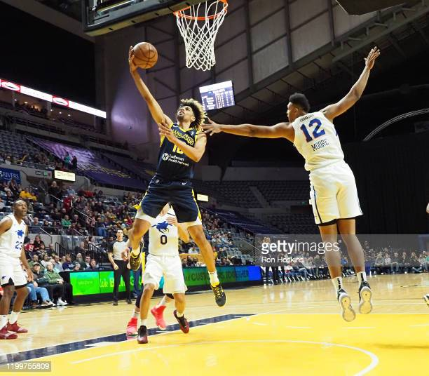 Brian Bowen of the Fort Wayne Mad Ants shoots the ball against the Delaware Blue Coats on February 09, 2020 at Memorial Coliseum in Fort Wayne,...