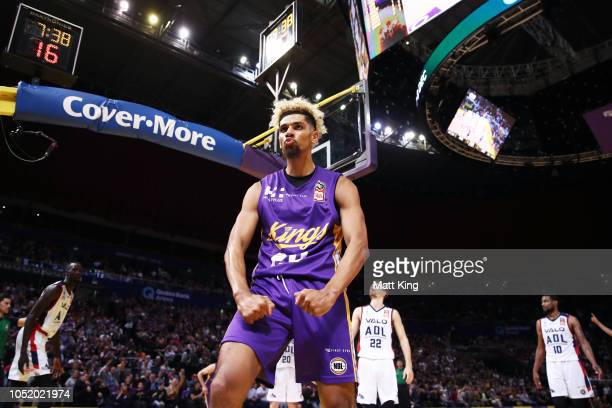 Brian Bowen of the Kings celebrates scoring during the round one NBL match between the Sydney Kings and the Adelaide 36ers at Qudos Bank Arena on...
