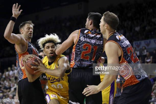 Brian Bowen of the Kings runs into the arm of Todd Blanchfield of the Hawks as he drives to the basket during the round nine NBL match between the...