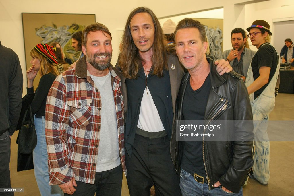 Brian Bowen Smith, Brandon Boyd and Scott Lipps pose for a photo at OptiMystic: A Brandon Boyd Pop Up Gallery Featuring He, Tasya Van Ree, Natalie Bergman, Diana Garcia And DJ Set By Brent Bolthouse at 101/Exhibit Gallery on December 1, 2017 in West Hollywood, California.