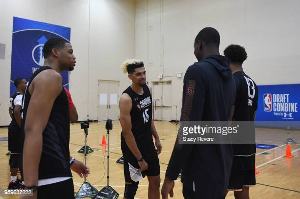 Brian Bowen speaks with other paerticipants during Day One of the NBA Draft Combine at Quest MultiSport Complex on May 17 2018 in Chicago Illinois...