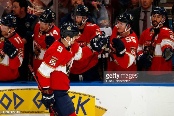 Brian Boyle of the Florida Panthers celebrates his third period goal with teammates against the Los Angeles Kings at the BBT Center on January 16...