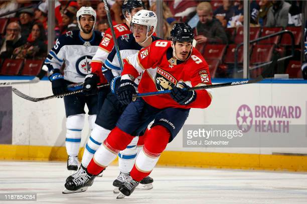 Brian Boyle of the Florida Panthers skates for position against Andrew Copp of the Winnipeg Jets at the BBT Center on November 14 2019 in Sunrise...