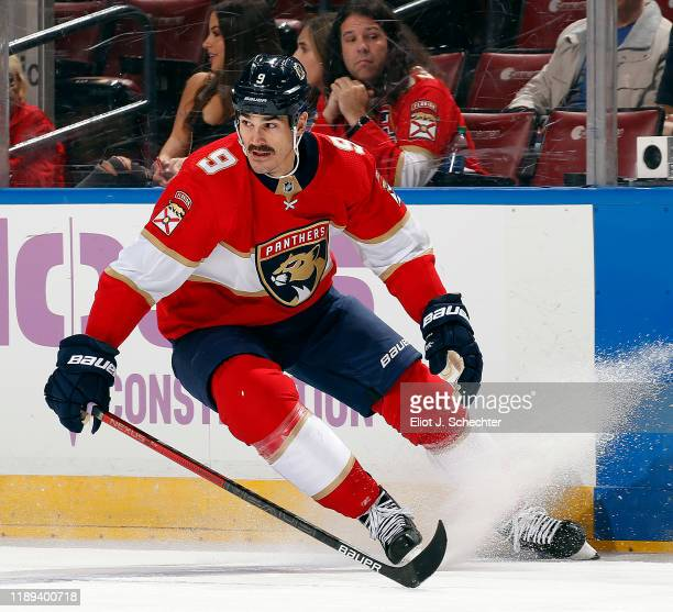 Brian Boyle of the Florida Panthers skates for position against the Anaheim Ducks at the BBT Center on November 21 2019 in Sunrise Florida