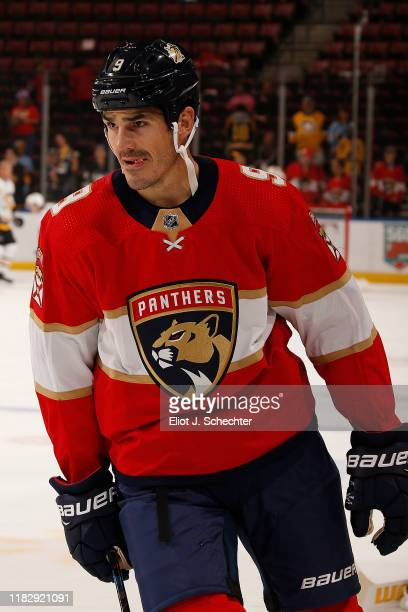 Brian Boyle of the Florida Panthers skates on the ice with teammates prior to the start of the game against the Pittsburgh Penguins at the BBT Center...