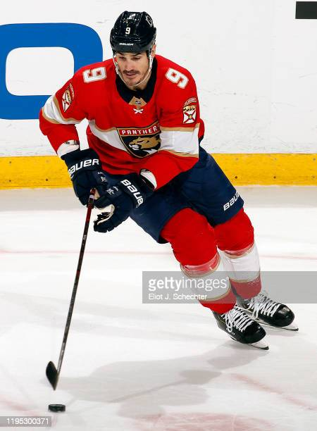 Brian Boyle of the Florida Panthers skates with the puck against the Dallas Stars at the BBT Center on December 20 2019 in Sunrise Florida