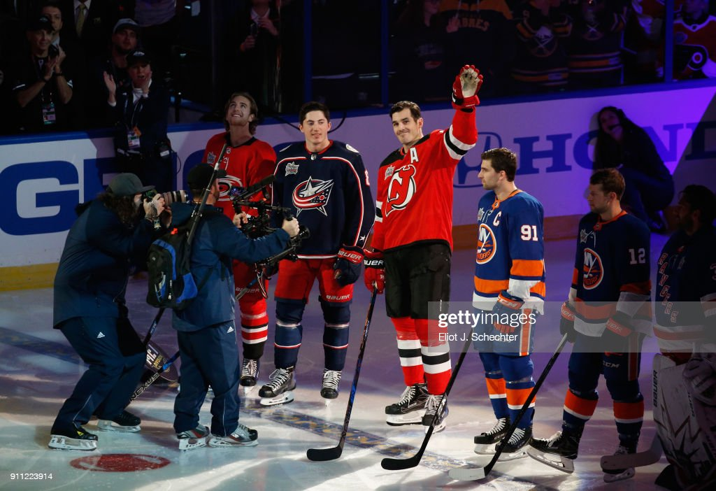Brian Boyle #11 of the New Jersey Devils acknowledges the fans during player introductions prior to the 2018 GEICO NHL All-Star Skills Competition at Amalie Arena on January 27, 2018 in Tampa, Florida.