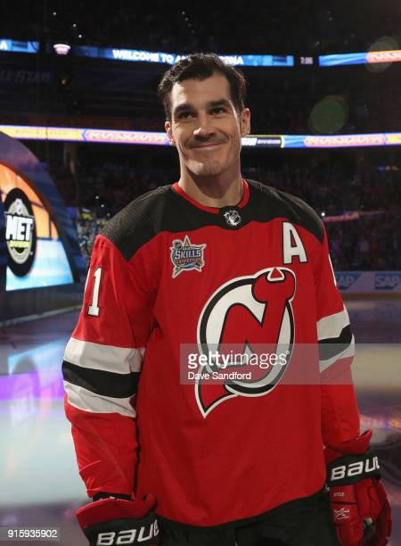 Brian Boyle of the New Jersey Devils acknowledges the fans during player introductions prior to the 2018 GEICO NHL AllStar Skills Competition at...